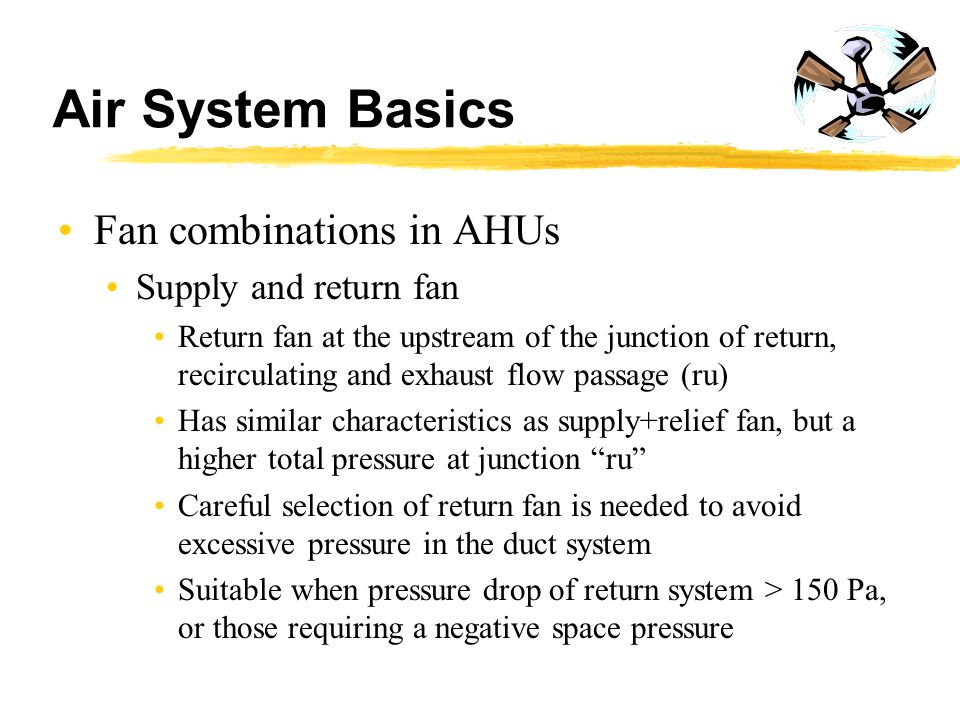 Air System Basics Fan combinations in AHUs Supply and return fan