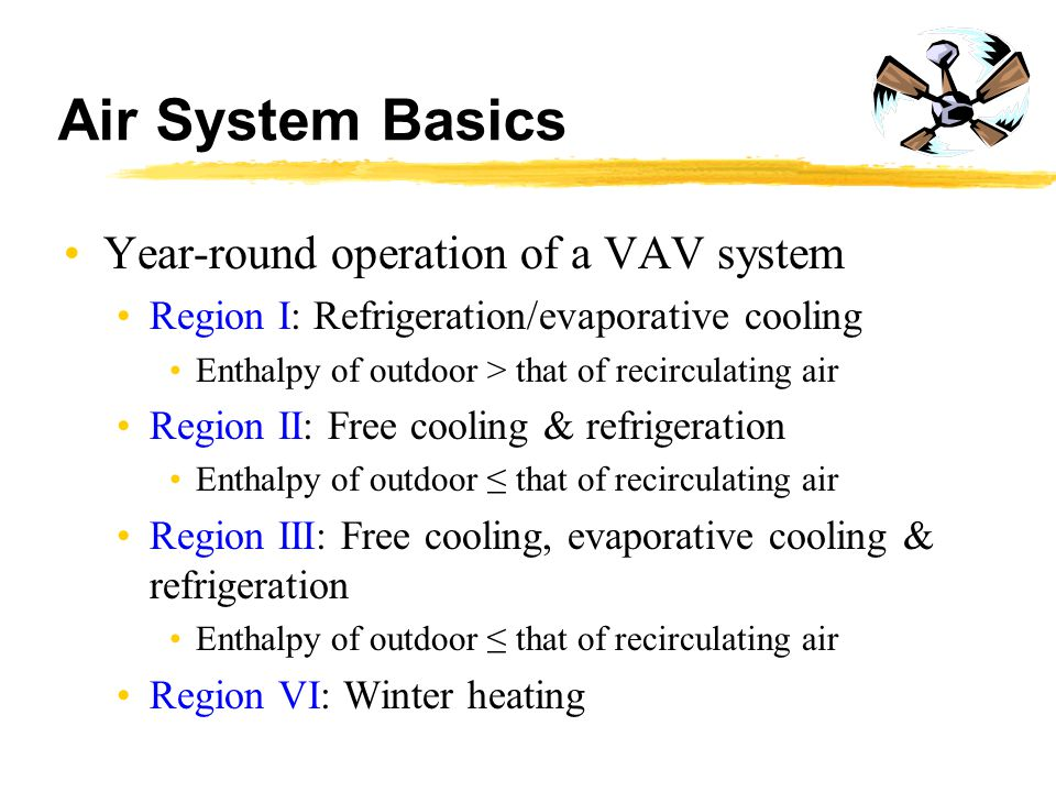 Air System Basics Year-round operation of a VAV system