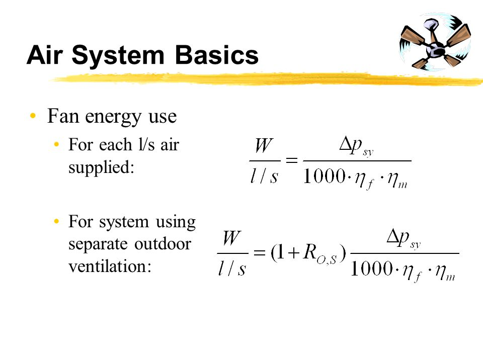 Air System Basics Fan energy use For each l/s air supplied: