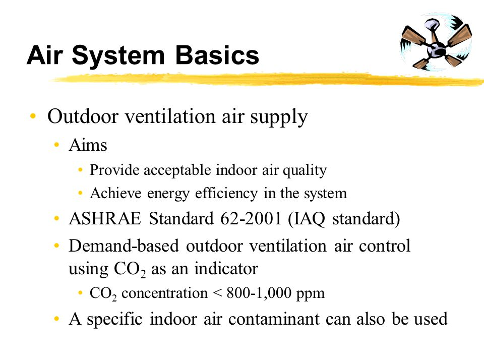 Air System Basics Outdoor ventilation air supply Aims