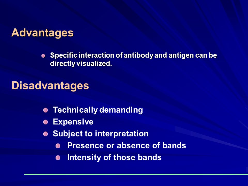 Advantages Disadvantages Technically demanding Expensive