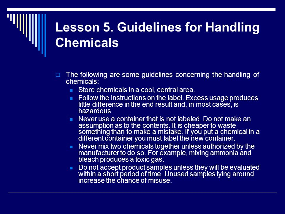 Lesson 5. Guidelines for Handling Chemicals
