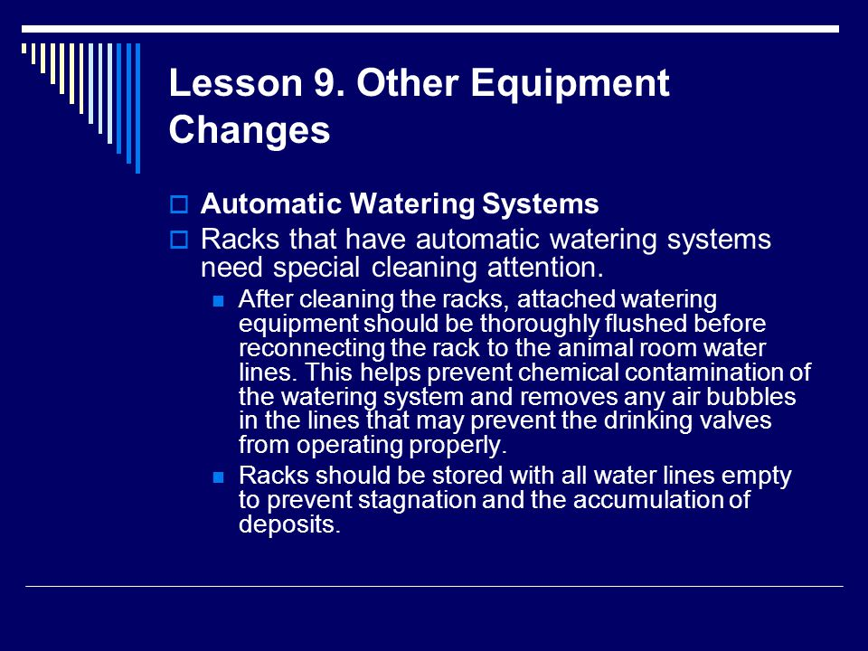 Lesson 9. Other Equipment Changes