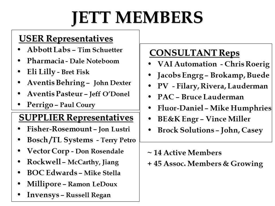 JETT MEMBERS USER Representatives CONSULTANT Reps