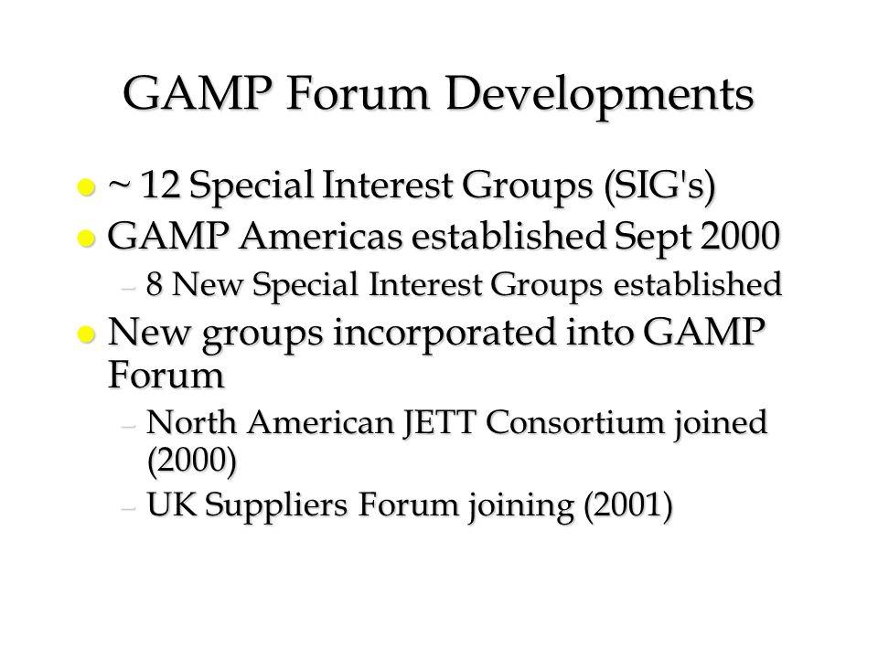 GAMP Forum Developments