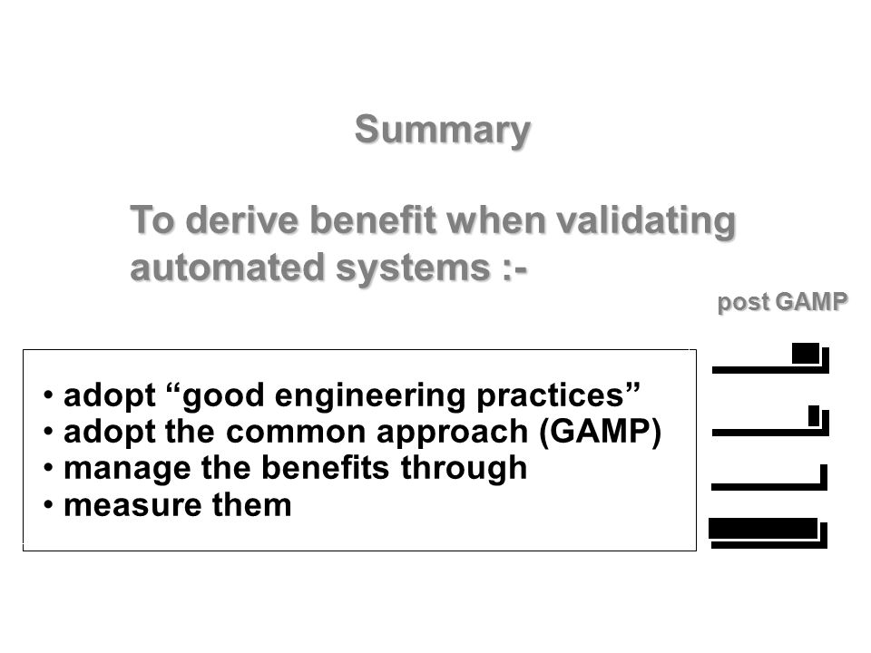 To derive benefit when validating automated systems :-