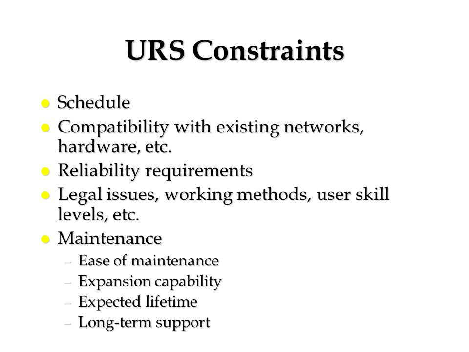 URS Constraints Schedule