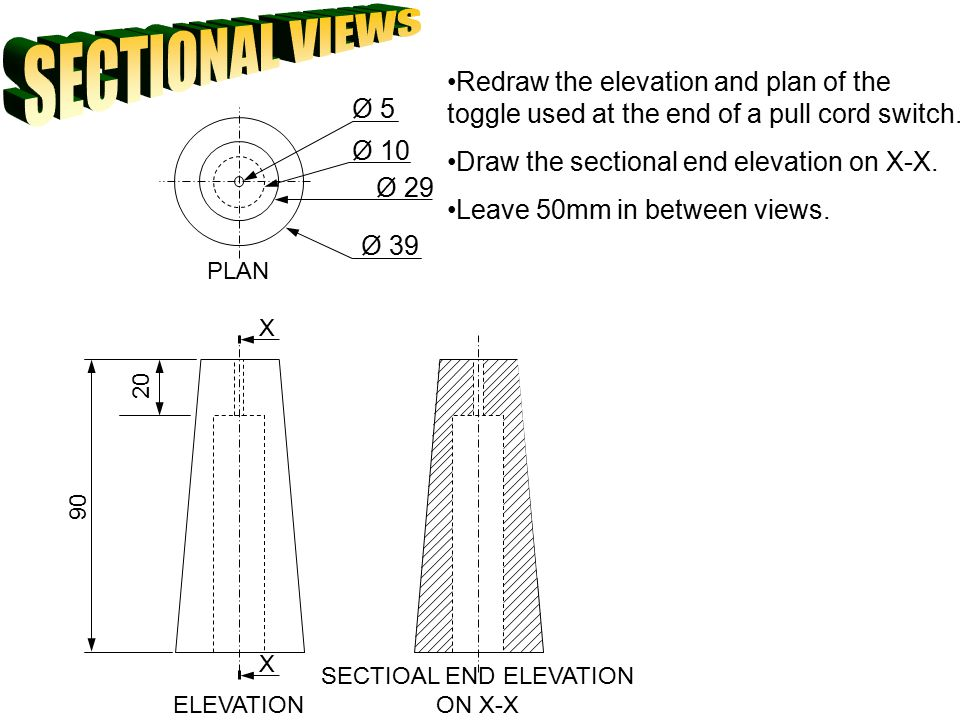 SECTIOAL END ELEVATION ON X-X