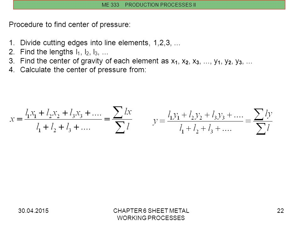 Procedure to find center of pressure: