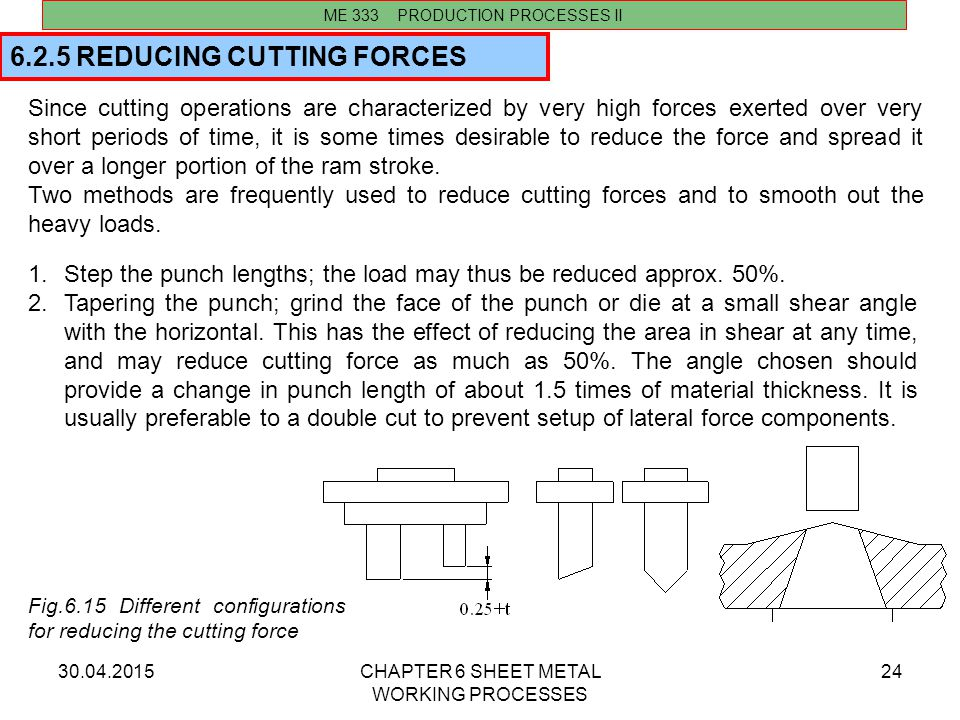 6.2.5 REDUCING CUTTING FORCES