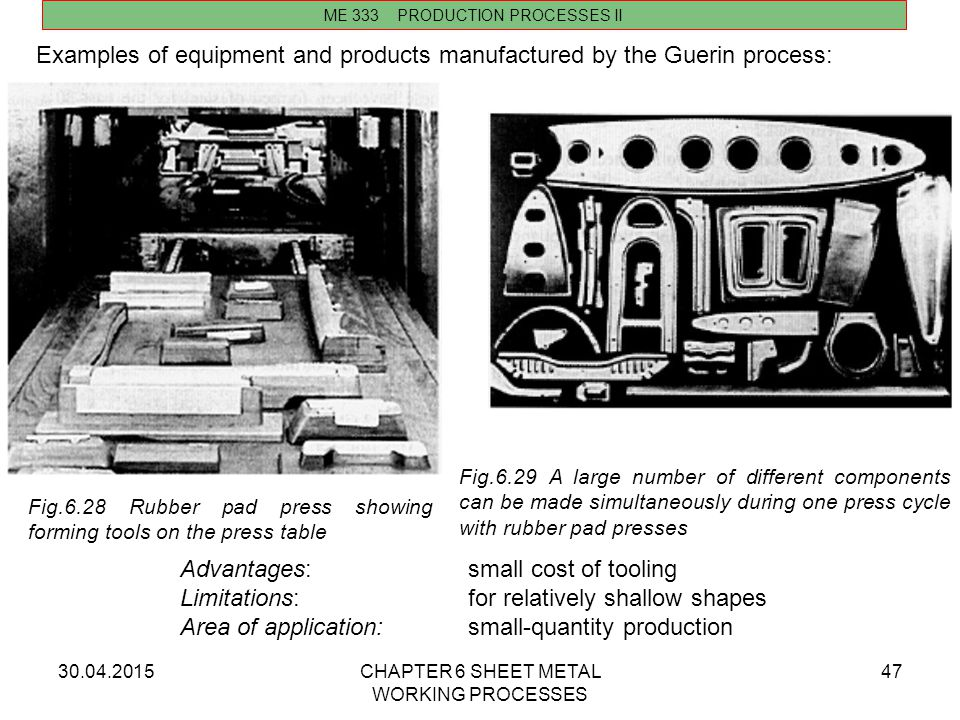 Examples of equipment and products manufactured by the Guerin process: