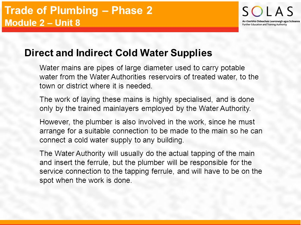Direct and Indirect Cold Water Supplies