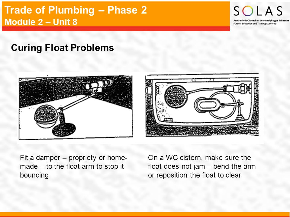 Curing Float Problems Fit a damper – propriety or home-made – to the float arm to stop it bouncing.