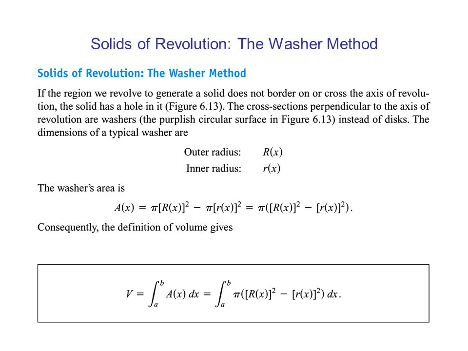 Solids of Revolution: The Washer Method