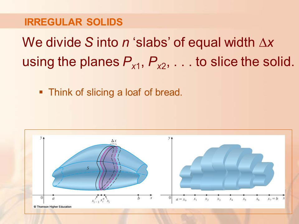 We divide S into n 'slabs' of equal width ∆x