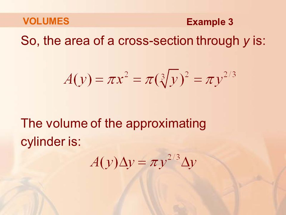 So, the area of a cross-section through y is: