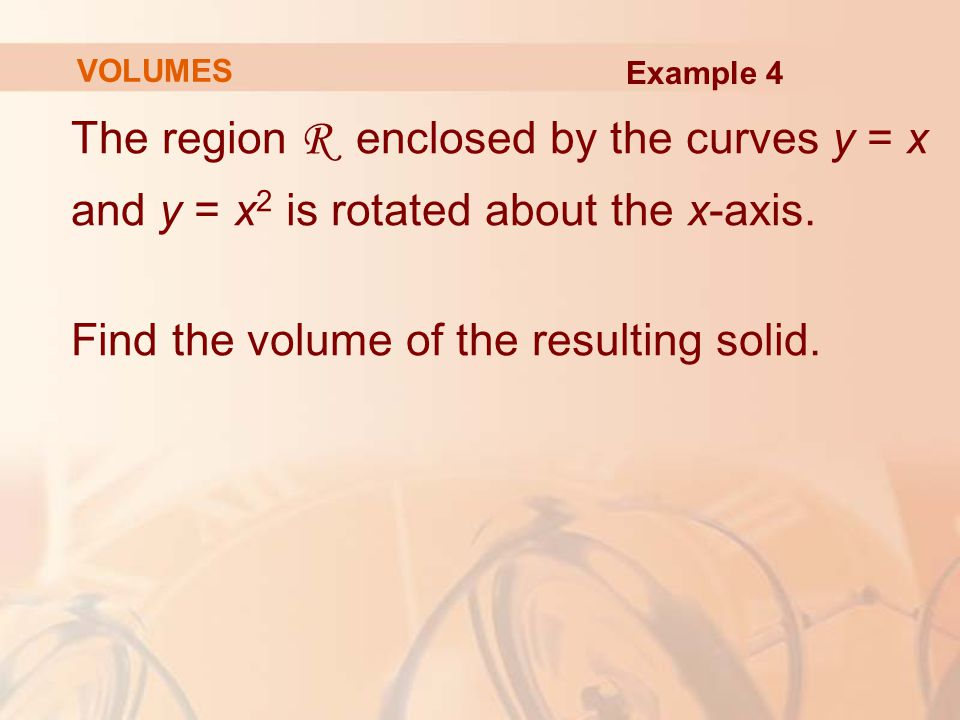 The region R enclosed by the curves y = x