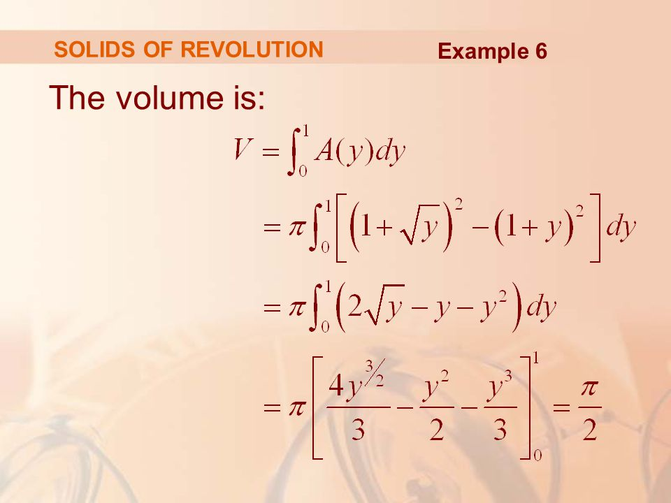SOLIDS OF REVOLUTION Example 6 The volume is: