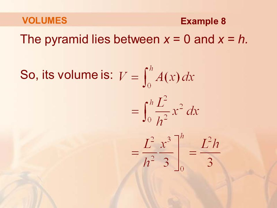 The pyramid lies between x = 0 and x = h. So, its volume is: