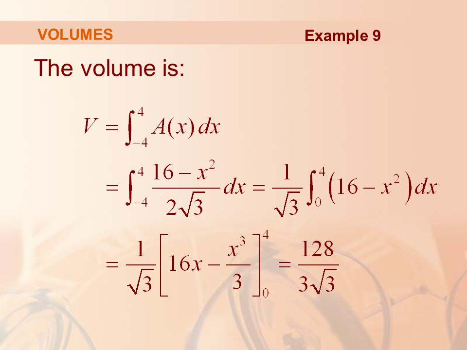 VOLUMES Example 9 The volume is: