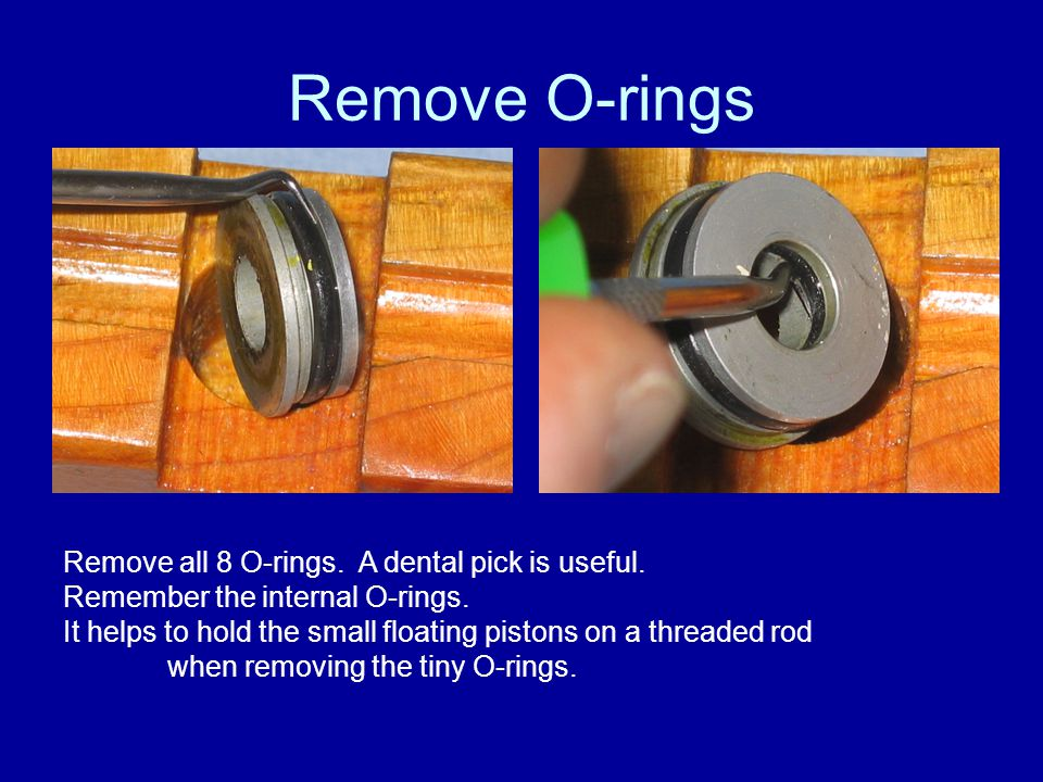 Remove O-rings Remove all 8 O-rings. A dental pick is useful.