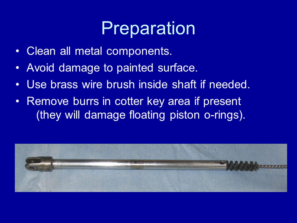 Preparation Clean all metal components.