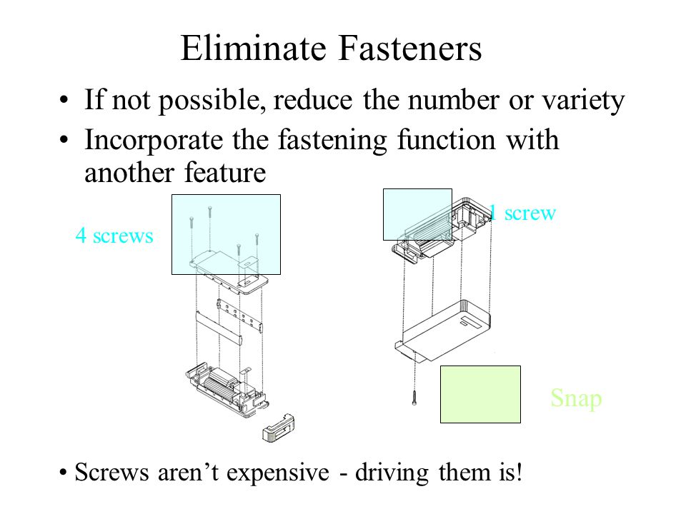 Eliminate Fasteners If not possible, reduce the number or variety
