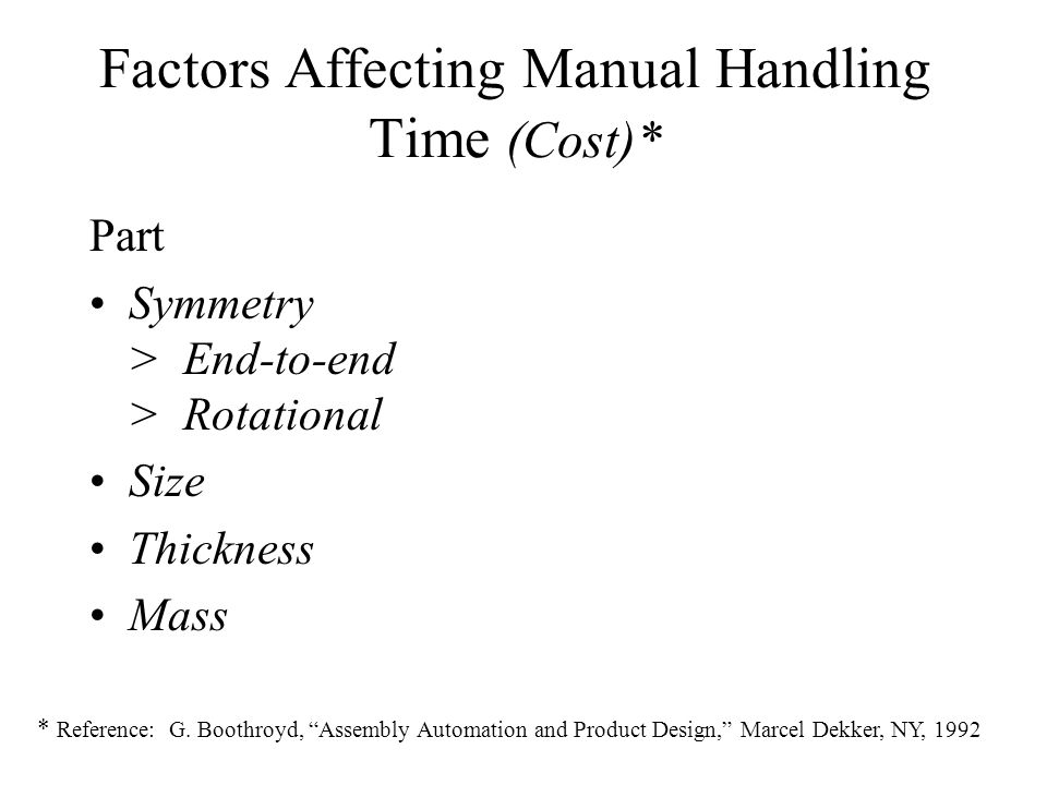 Factors Affecting Manual Handling Time (Cost)*
