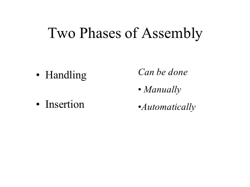 Two Phases of Assembly Handling Insertion Can be done Manually