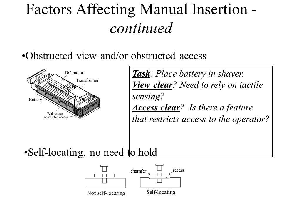 Factors Affecting Manual Insertion - continued