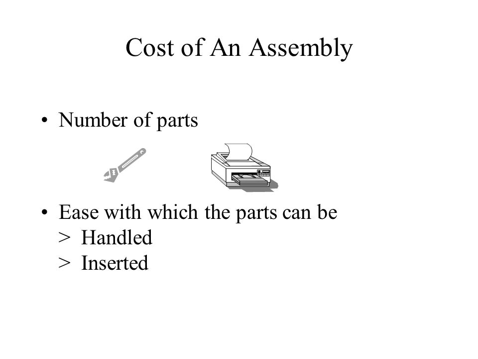 Cost of An Assembly Number of parts