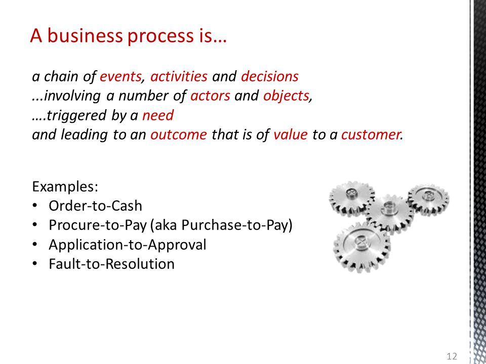 A business process is… a chain of events, activities and decisions