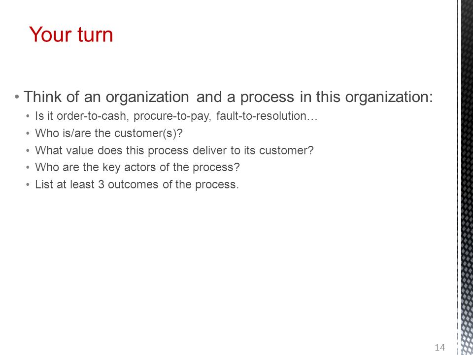 Your turn Think of an organization and a process in this organization: