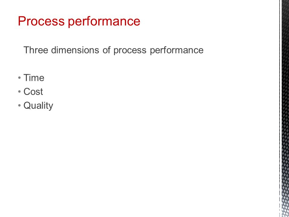 Process performance Three dimensions of process performance Time Cost