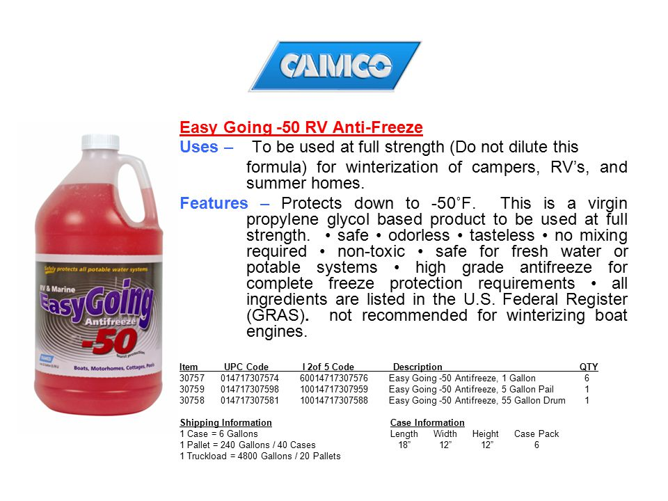 Easy Going -50 RV Anti-Freeze