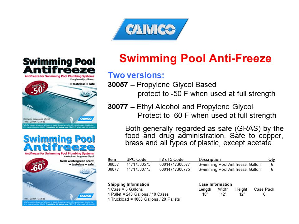 Swimming Pool Anti-Freeze