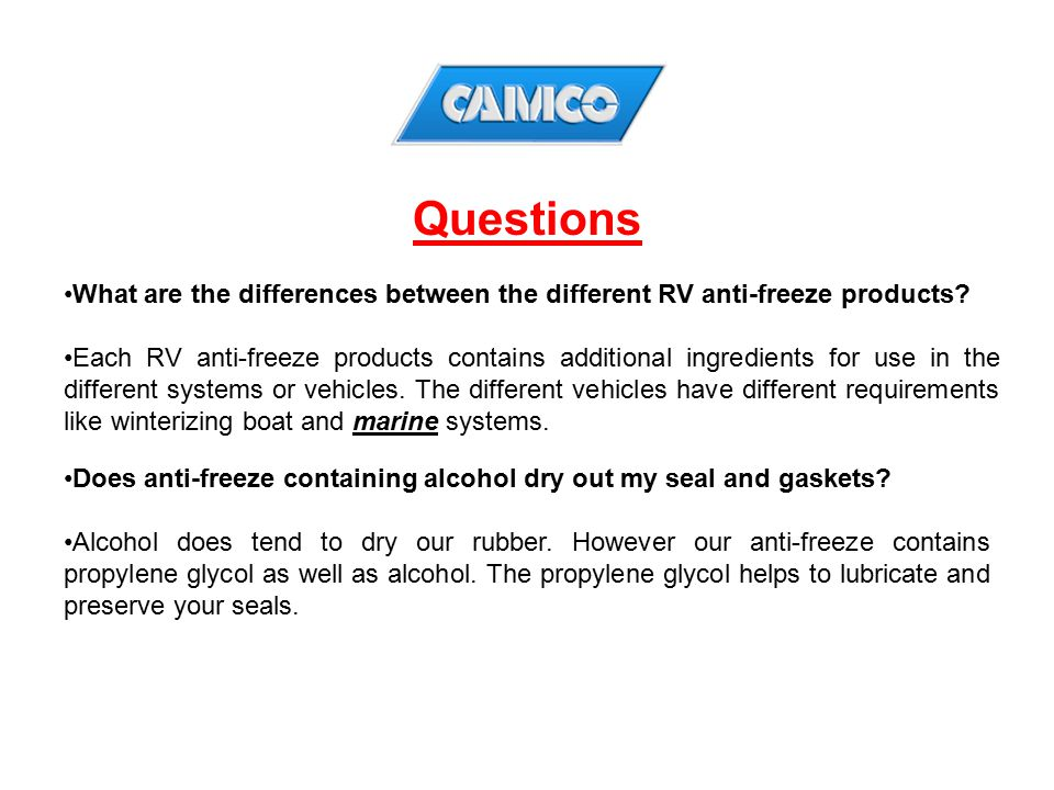 Questions What are the differences between the different RV anti-freeze products