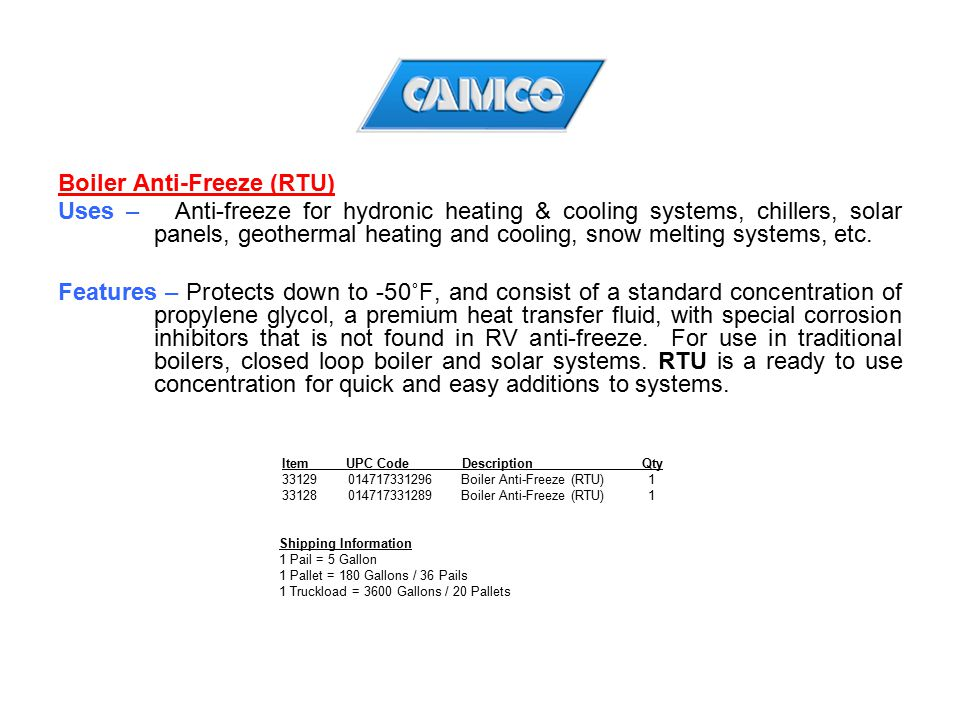 Boiler Anti-Freeze (RTU)