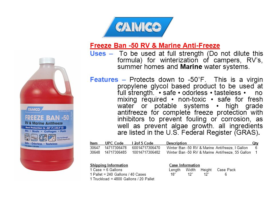 Freeze Ban -50 RV & Marine Anti-Freeze