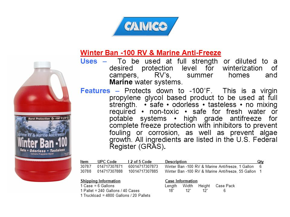 Winter Ban -100 RV & Marine Anti-Freeze