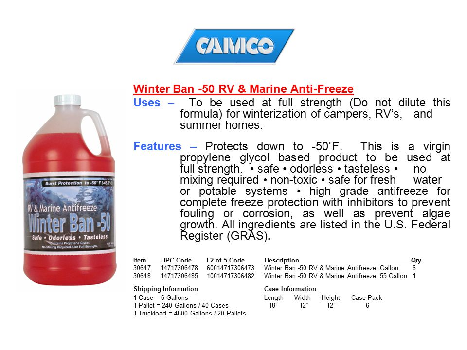 Winter Ban -50 RV & Marine Anti-Freeze
