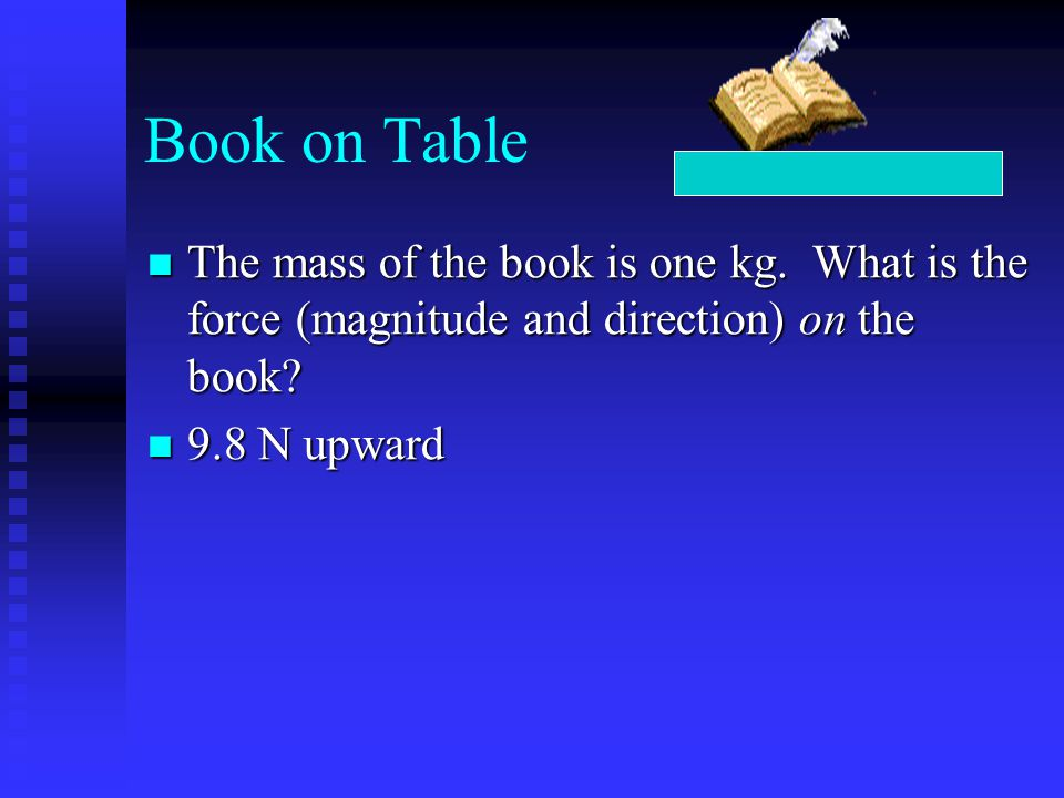 Book on Table The mass of the book is one kg. What is the force (magnitude and direction) on the book