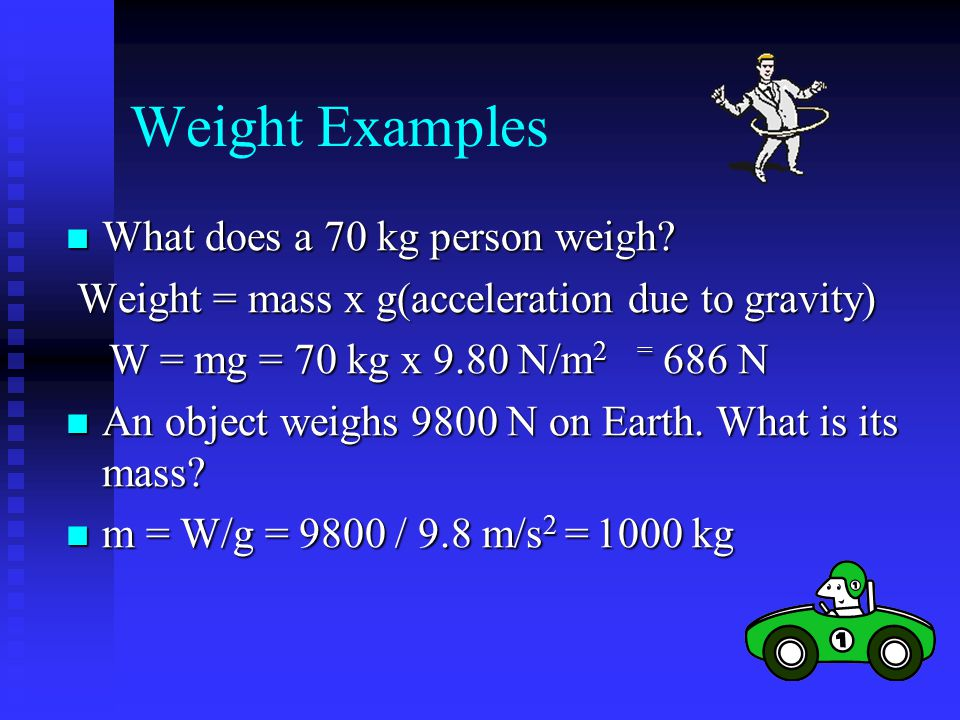 Weight Examples What does a 70 kg person weigh
