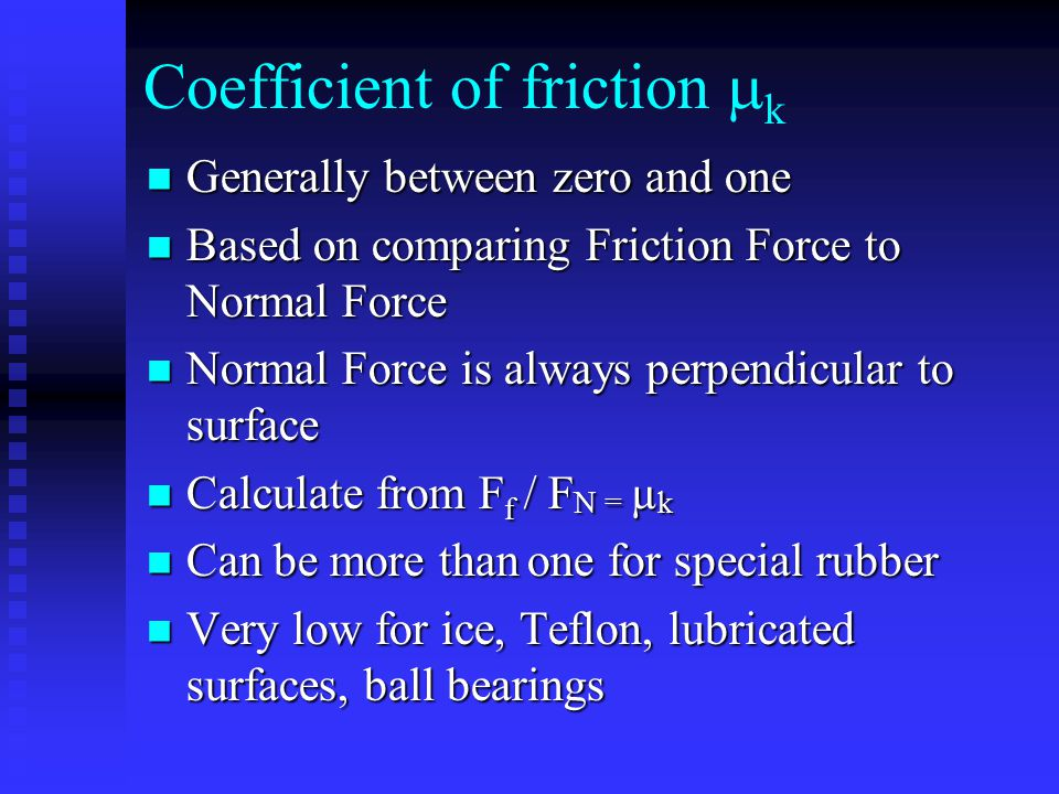 Coefficient of friction mk