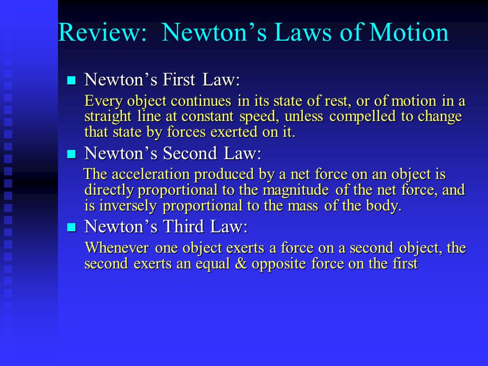 Review: Newton's Laws of Motion