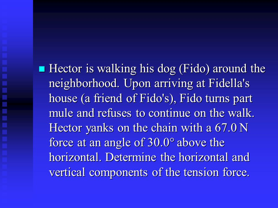 Hector is walking his dog (Fido) around the neighborhood