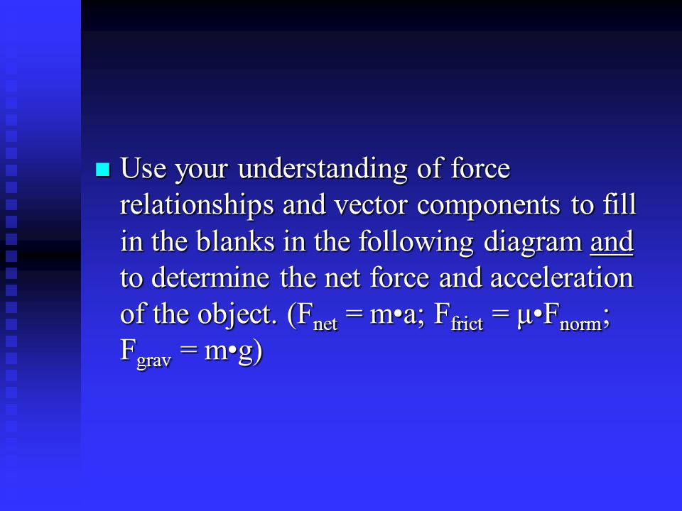 Use your understanding of force relationships and vector components to fill in the blanks in the following diagram and to determine the net force and acceleration of the object.