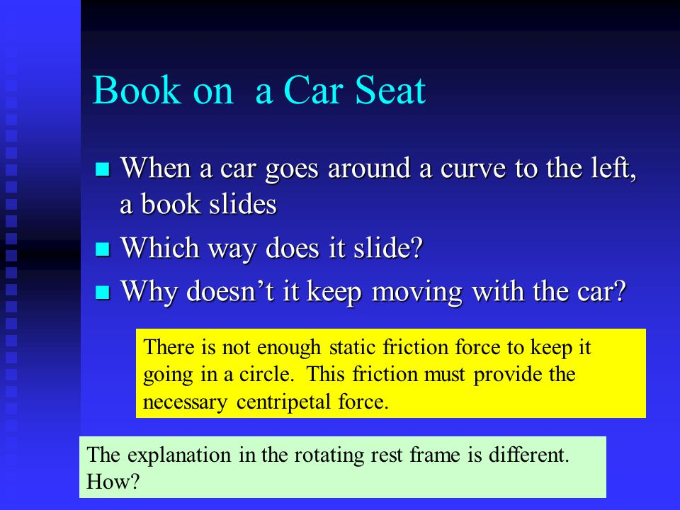 Book on a Car Seat When a car goes around a curve to the left, a book slides. Which way does it slide