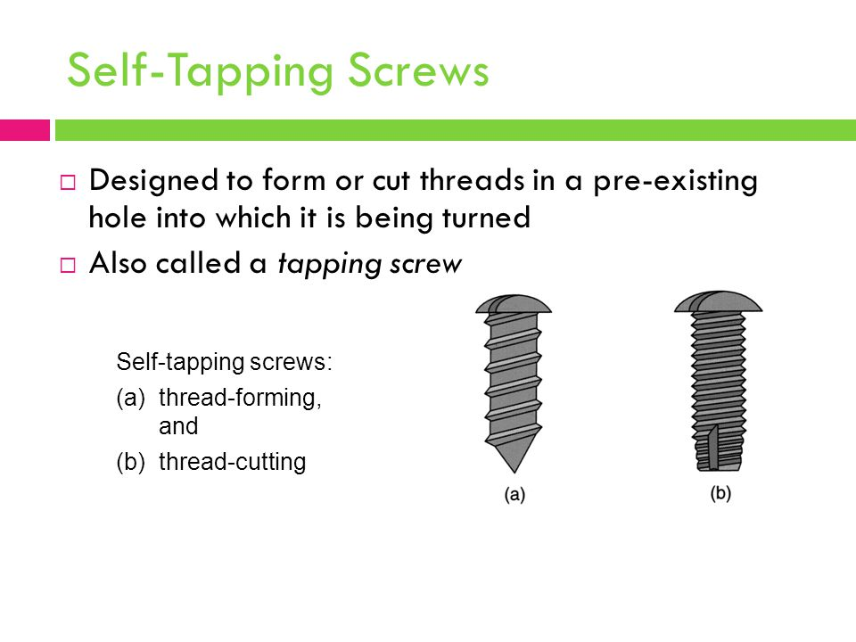 Self-Tapping Screws Designed to form or cut threads in a pre‑existing hole into which it is being turned.