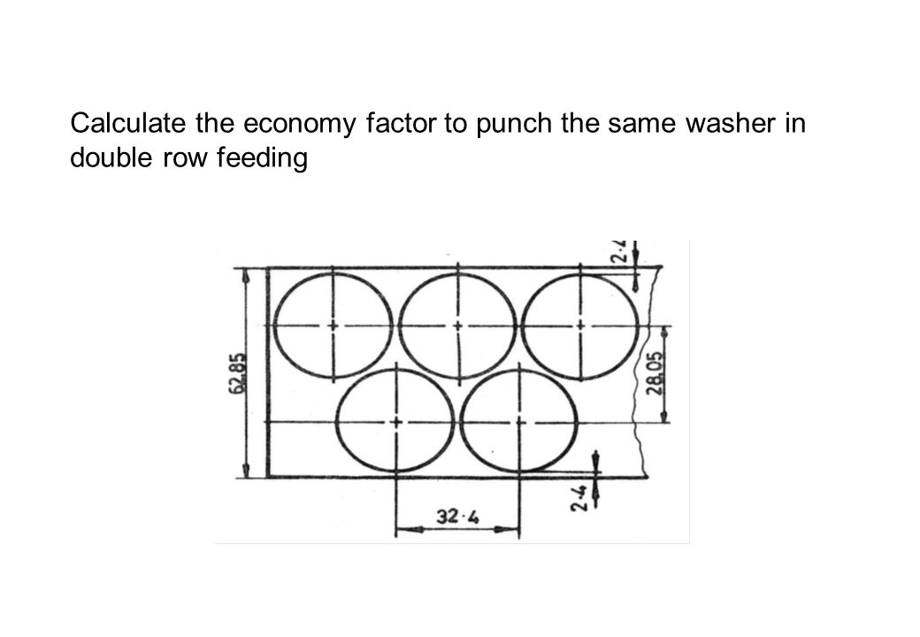 Calculate the economy factor to punch the same washer in double row feeding